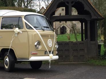 vw wedding car arrives at the church on time!