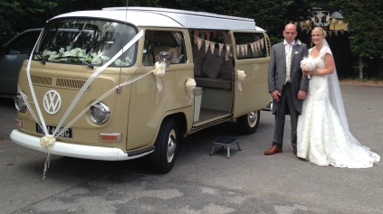 Our extra special VW bridal transport is a hit with Lynn and Garys guests